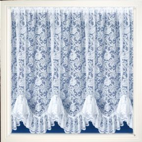 AUSTRIAN FLOUNCE FRILLED VICTORIAN FLOWER WHITE LACE NET CURTAIN SOLD PER METRE